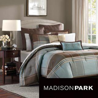 Madison Park Davenport Blue/ Brown 8 piece Comforter Set
