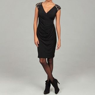 London Times Womens Lace Draped Sheath Dress