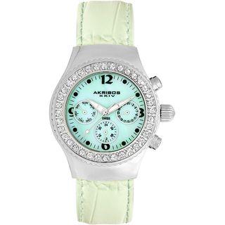 Akribos XXIV Womens Austrian Crystal Green Multifunction Quartz Watch