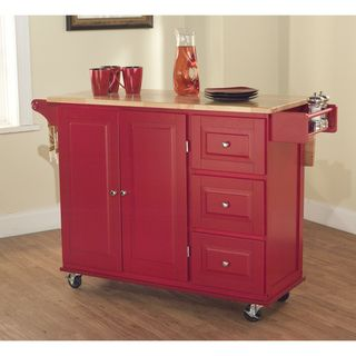 Aspen Red/ Natural Three drawer Cart