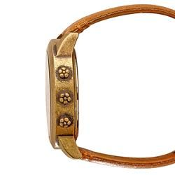 Lucky Brand Womens Instalite Brown Leather Strap Watch
