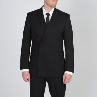 Calvin Klein Mens Black Double Breasted Wool Suit