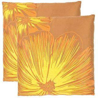 Botanical 22 inch Orange/ Yellow Decorative Pillows (Set of 2