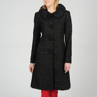 Ivanka Trump Womens Rouche Collar Jacquard Coat