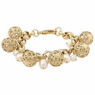 Rivka Friedman White FW Pearl Charm Bracelet (4 9 mm)