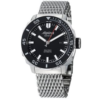 Alpina Mens Adventure Black Dial Stainless Steel Mesh Watch