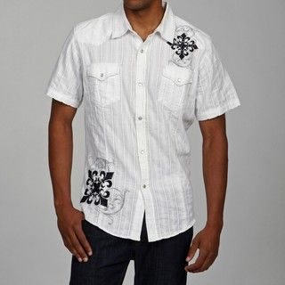 Pop Icon Mens White Cotton Embroidered Woven Shirt