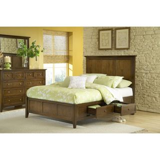 Modern Shaker Four Drawer Solid Mahogany Storage Bed in Truffle