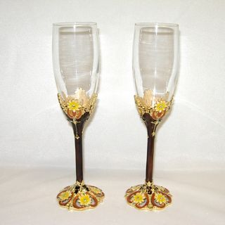Threestar Brown/ Yellow Floral Pattern Italian Champagne Flutes (Set
