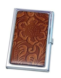 Brown Floral Business Card ID Case Clothing