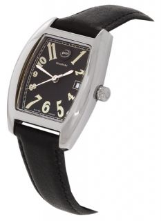 Tourneau Gear Womens Rectangle Watch with Black Strap