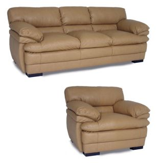 Dalton Tan Leather Sofa and Chair