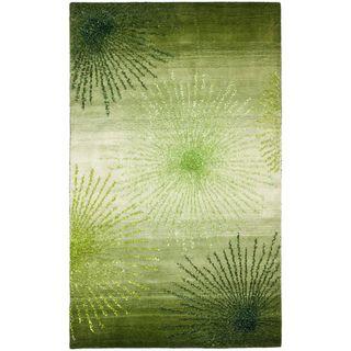 Handmade Soho Burst Green New Zealand Wool Rug (5x 8)