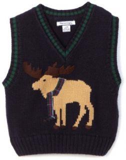 Hartstrings Baby Boys Infant Moose Sweater Vest, Navy, 12