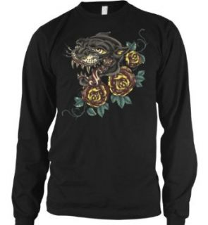 Panther And Roses Mens Tattoo Thermal Shirt, Classic Black