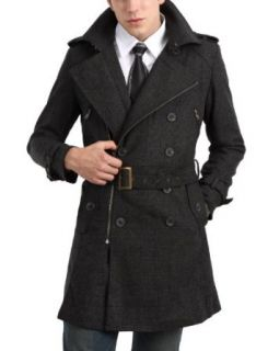 Doublju Mens Casual Double Breasted Zip Coat Clothing
