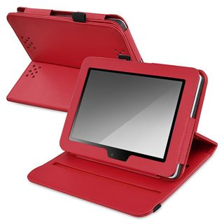 BasAcc Red Leather Swivel Case for  Kindle Fire HD 7 inch