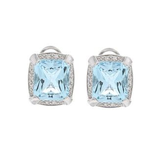 Oro Leoni Sterling Silver Blue Topaz and Diamond Accent Earrings
