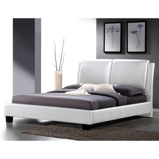 Sabrina White Modern King size Bed with Overstuffed Headboard