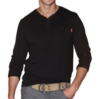191 Unlimited Mens Black Long sleeve Henley Tee