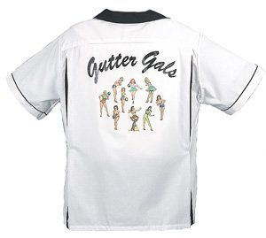 Gutter Gals Bowling Shirt White & Black Classic   2X