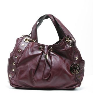 Michael Kors Womens Ludlow Bordeaux Leather Studded Shoulder Bag