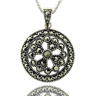 Serling Silver Marcasie Medallion Necklace