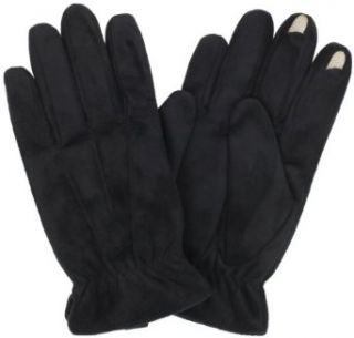 Isotoner Mens Smartouch Brushed Micro Fiber Gloves, Black