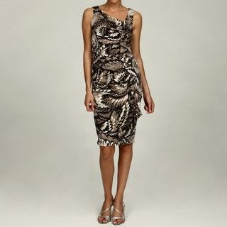 London Times Womens Floral Asymmetrical Ruffle Dress