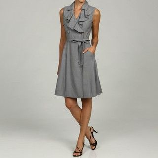 Sandra Darren Womens Sleevleless Ruffled Collar Dress