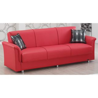 Dallas Red Bonded Leather Sofabed