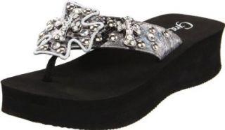 Grazie Womens Lavida Flip Flop,Pewter,6 B US Shoes