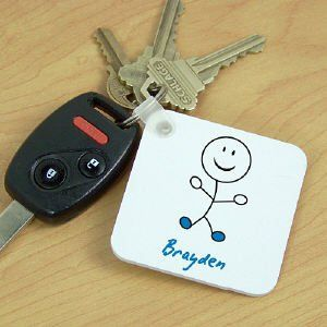 Personalized Stick Figure Key Chain Clothing