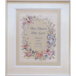 Dimensions Two Hearts Wedding Record Stamped Cross Stitch Kit Today