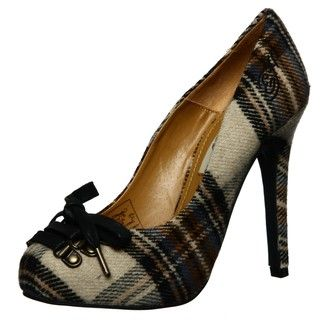 Ed Hardy Womens Batu Yellow Plaid Pumps
