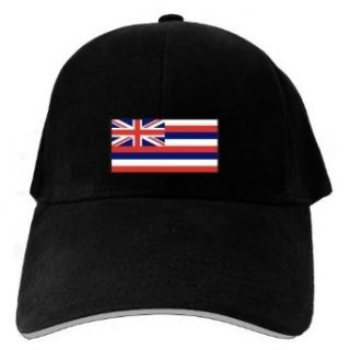 Caps Black  Flag Embroidery Hawaii  State Clothing
