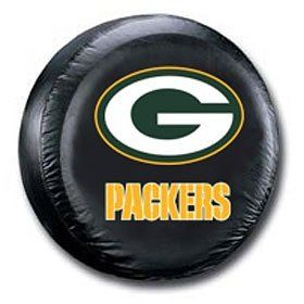 Green Bay Packers Black Tire Cover   Size Large Sports