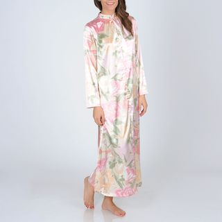 La Cera Womens Pink Floral Print Zip front Robe
