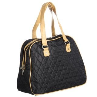 Ellen Tracy Black/ Vachetta Quilted Carry On Tote