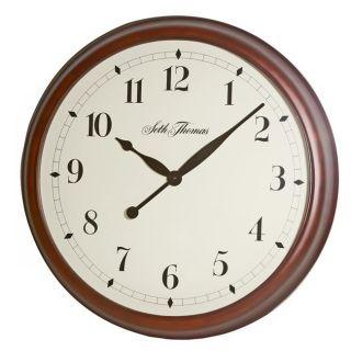 Seth Thomas State Street Walnut Wood Quartz Wall Clock