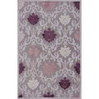 Transitional Pink/ Purple Viscose/ Chenille Rug (5 x 76)