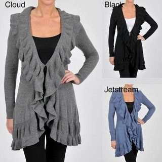 Cullen Womens Cashmere blend Ruffle Front Cardigan