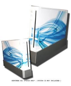 White & Blue Skin Decal for Nintendo Wii