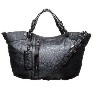 Oryany Gwen Black Leather Satchel Bag