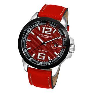 Stuhrling Original Mens Concorso GT Leather Strap Watch