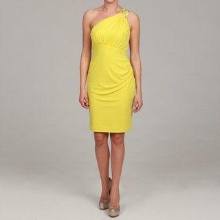 Calvin Klein Womens Citron Embellished One shoulder Dress