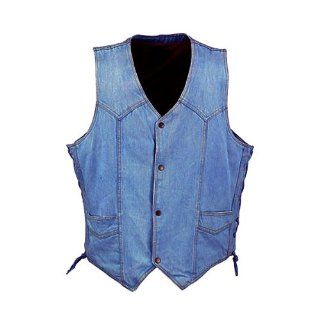 Motorcycle Vests   Mens Blue Denim Motorcycle Vest MV103