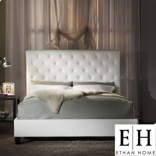 ETHAN HOME Sophie Tufted White Faux Leather Queen size Platform Bed