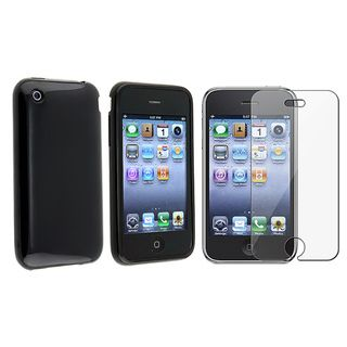 Black TPU Rubber Skin Case/ Screen Protector for Apple iPhone 3G/ 3GS