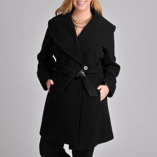 Larry Levine Womens Plus Black Shawl Collar Coat